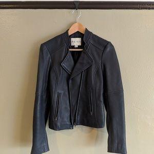 Reiss Smoke Blue Leather Motorcycle Jacket